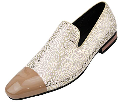 Amali Men's Metallic Lace Patterned Embossed Slip On Loafer with Matching Tip and Heal Dress Shoe, Style - Gold White Patterned