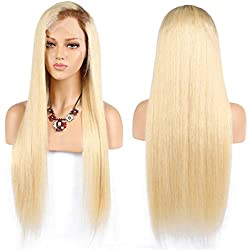 Jun Ran Hair Straight #613 Blonde Human Hair Wigs With Dark Brown Root Brazilian Virgin Remy Ombre Color #4/613 Lace Front Wigs Free Part 130% Density 14inch