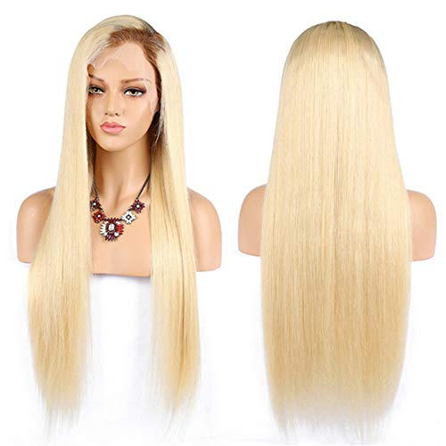 Jun Ran Hair Straight #613 Blonde Human Hair Wigs With Dark Brown Root Brazilian Virgin Remy Ombre Color #4/613 Lace Front Wigs Free Part 130% Density 24inch (Blond Human Hair Wigs Straight)