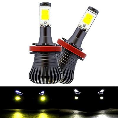 Fog Light,JAYEJA Dual Colors H8 / H11 LED Bright Fog Bulbs Lights Lamp Replacement Max 38W High Power Daytime Running Light Lamps White Gold Yellow Light Alternately Switch (6000K/3000K) - Pack of 2