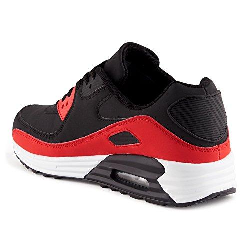 FiveSix Herren Damen Sneaker Sportschuhe Schnür Lauf Freizeit Fitness Dämpfung Low Top Unisex Schuhe Schwarz/Rot-M