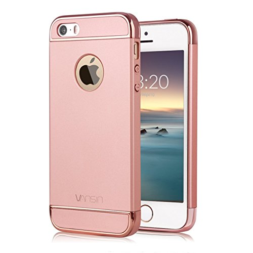 iPhone 5S case, iPhone SE Case, Vansin 3 In 1 Ultra Thin and Slim Hard Case Coated Non Slip Matte Surface with Electroplate Frame for Apple iPhone 5, iPhone 5S, iPhone SE -- Rose Gold