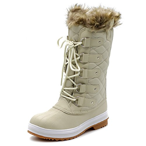 Ollio Women's Shoe Lace up Quilted Fur Snow Duck Boots TWB5126 (9 B(M) US, Ivory) ()