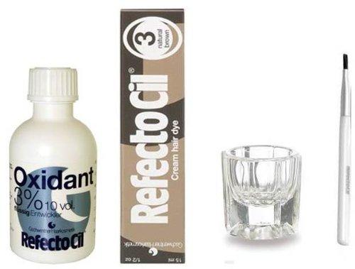 RefectoCil COLOR KIT - Natural Brown крем краски для волос + жидкий окислитель 3% 1.7oz + Смешивание щетка + Смешивание блюдо
