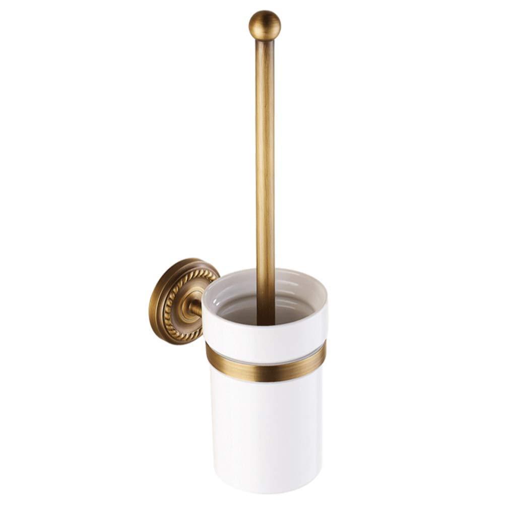 YXN European Toilet Brush Holder Copper Wall-Mounted Toilet Brush Holder Increase Chassis Long Handle Bathroom Toilet Brush H42 cm