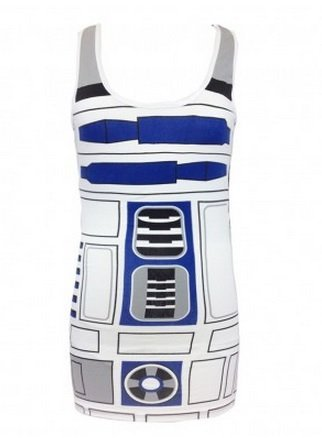 Star Wars R2-D2 Robot Juniors White Costume Tank Top Shirt