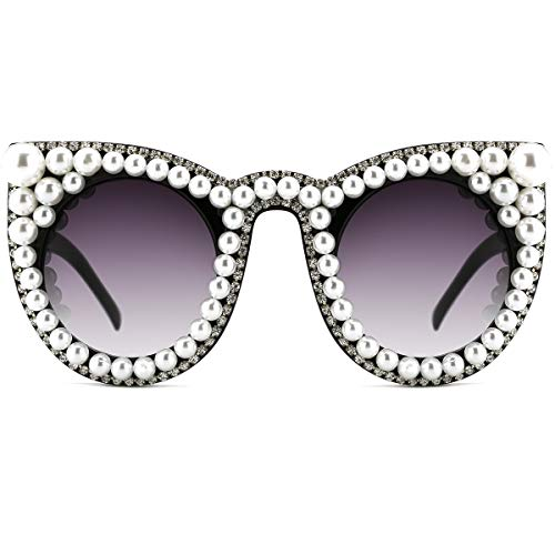 Slocyclub Oversized Sunglasses for Women Pearl Sunglasses Handmade Overstate Cat Eye Pearl ()