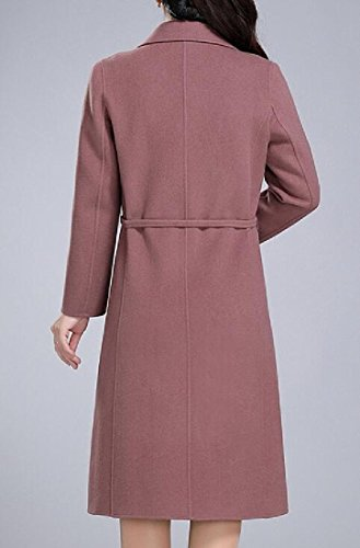 Sheng Xi Womens belt Outwear Topcoat Lapel Pure Color Pea Coat Pink 3XL by Sheng XiWomen (Image #2)