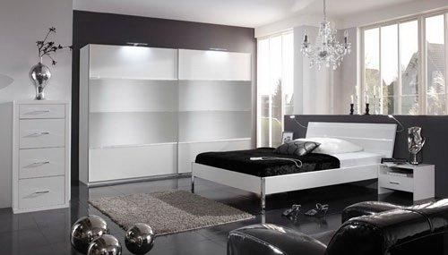 Schlafzimmer in Alpinweiß mit Strasskristallen, 4-tlg. Kleiderschrank B: ca. 225 cm, Bett Liegefläche 180 x 200 cm, 2 Nachtschänke B:ca. je 54 cm