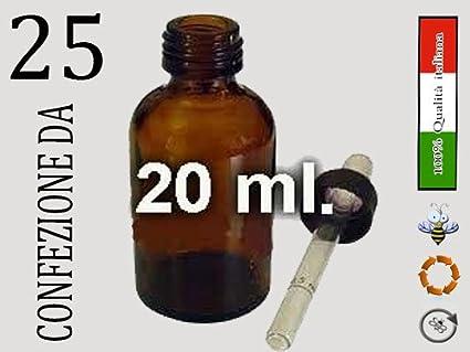 Botes de cristal ambrato 20 ml. con pipeta cuentagotas, 25 ...