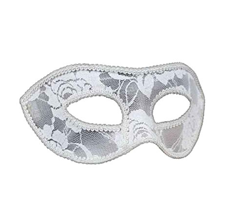 Elegant Sheer Lace Masquerade Mask (White) ()