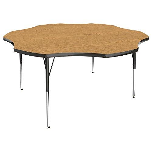 ECR4Kids 60″ Flower Activity School Table, Standard Legs w/Swivel Glides, Adjustable Height 19-30 inch (Oak/Black) Review