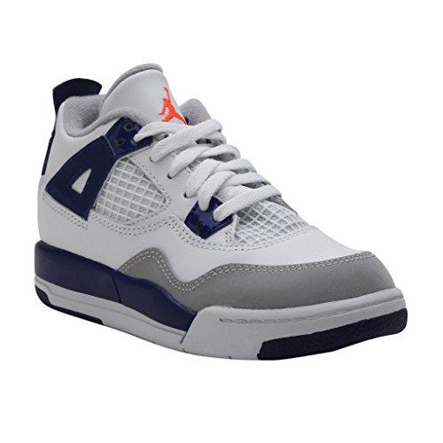 Jordan Preschool Air Retro 4 Basketball Shoes - 487725 132 White/Hyper Orange/Deep Royal (10.5 US Little Kid, White/DEEP Royal Blue/Wolf Grey/Hyper Orange) (Preschool Jordans Shoes)