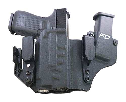 Fierce Defender IWB Kydex Holster Glock 19 23 32 w/APLc +1 Series w/Claw -Made in USA- Gen 5 Compatible (Black)