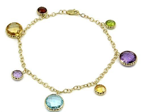 Multi-Color Charm Gemstone Bracelet With 14k Yellow Gold 7