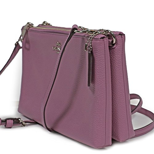 Silver Crossbody Lilac Women's Lilac F38273 Zip Double Coach Pebble Lyla Leather Style Bag xZA0wwPgqO