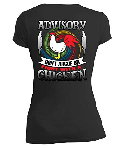 Being A Farmer Women's V-Neck Tee, Advisory Don't Argue Or Fight with A Chicken T Shirt-Women V-Neck (M, Black)