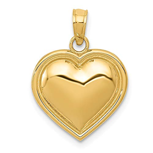 14k Yellow Gold Puff Heart Pendant Charm Necklace Love Fine Jewelry Gifts For Women For Her ()