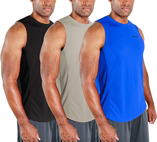 3 Pack Mens Muscle Shirts Sleeveless Dri Fit Gym Workout Tank Top