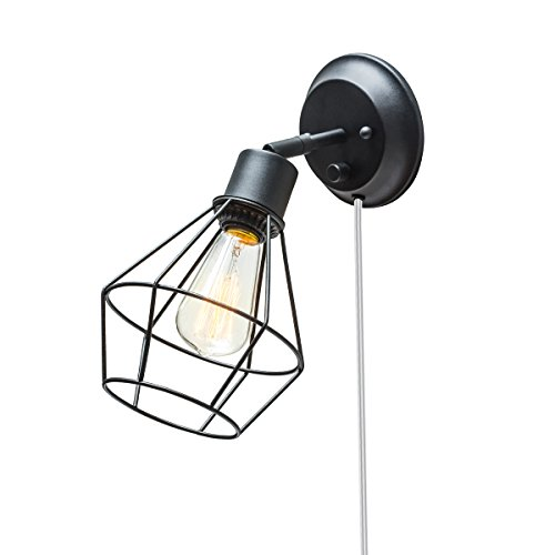 Globe Electric 1-Light Plug-In or Hardwire Industrial Cage Wall Sconce, Matte Black Finish, On/Off Rotary Switch, 6' Clear Cord, 65291