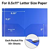 Blue Pocket Folders, 2-Pocket File Folders (3 Pack) Plastic Folders with Labels, Two Pocket Folders, Letter Size File Folders with Pockets, School Folders, Colored File Folders