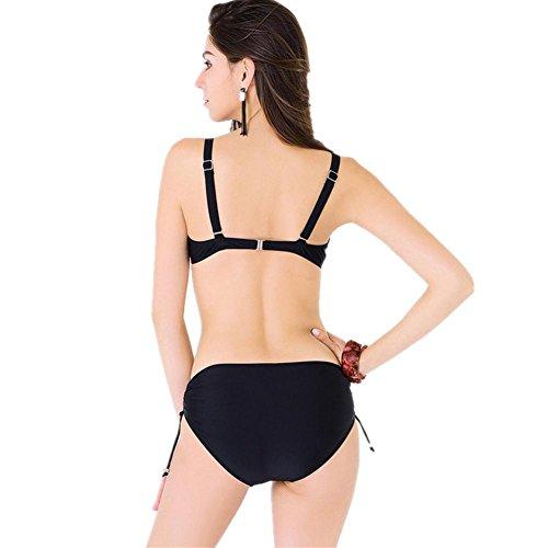 Split bikini dos conjuntos de punto de onda impresa señoras traje de baño 4