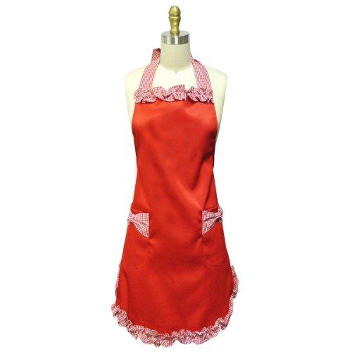 Buy wrapables kella milla ruffles pin-up apron red