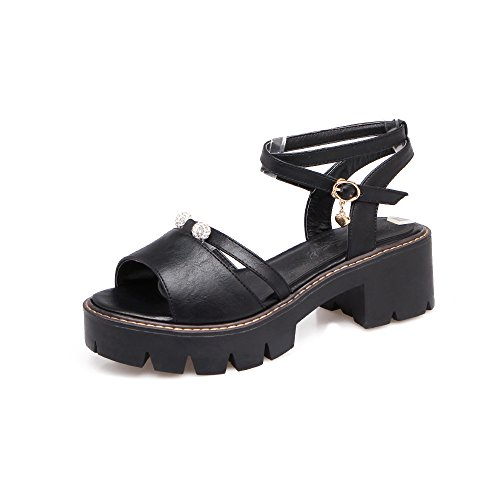 Bloque Mujer Toe Black amp;x Peep Tacones De Sandalias Qin vtx5PqwP
