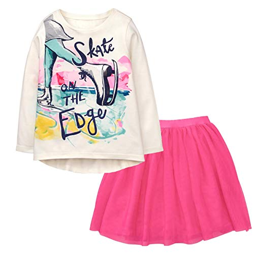 Gymboree Girls' 2-Piece Bundle Skate Tee & Tutu Skirt Set (Medium - Girl Skate Clothing