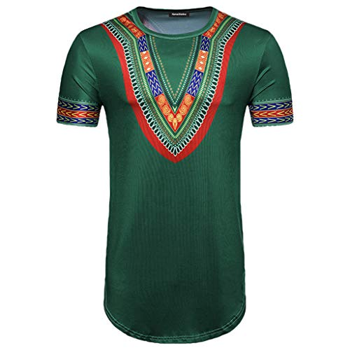 (YAYUMI 2019 Men's Summer African Print Round Neck Pullover Casual Short Sleeve T-Shirt Top Blous Green)