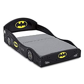 DC Comics Batman Batmobile Car Sleep and Play Toddler Bed with Attached Guardrails by Delta Children 1