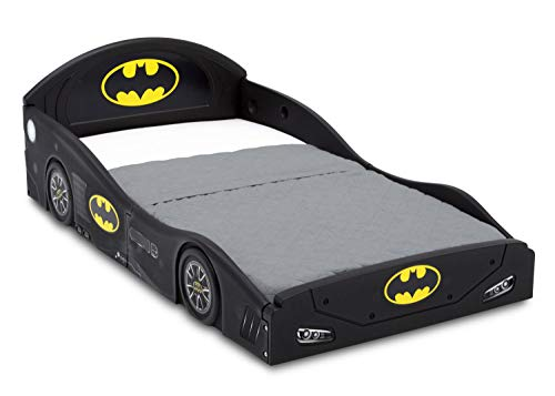 (DC Comics Batman Batmobile Car Sleep and Play Toddler Bed with Attached Guardrails by Delta Children)