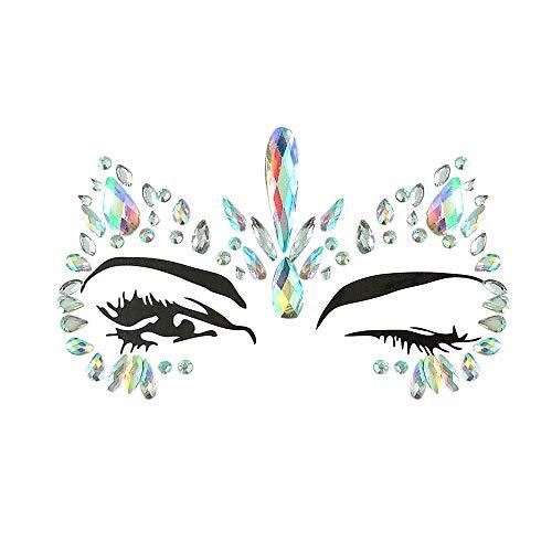 Inverlee 1 Sheet Facial Gems Adhesive Glitter Jewel