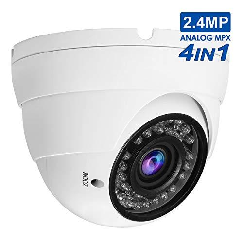 (2.4MP Dome Security Camera,Anpvees Analog CCTV HD 1080P 4-in-1 (TVI/CVI/AHD/CVBS),2.8mm-12mm Manual Focus/Zoom Varifocal Lens Security Camera, Weatherproof Metal Housing 36 IR-LEDs Day&Night)