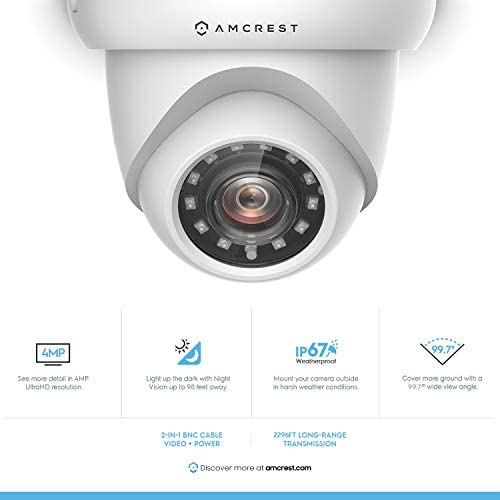 Amcrest UltraHD 4-Megapixel HDCVI Analog Bullet Outdoor Security Camera, 4MP 2688x1440P, 98ft Night Vision, 2.8mm Lens 100 Wide Angle, White AMC4MBC28P-W Renewed