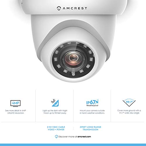 4-Pack Amcrest UltraHD 4MP Outdoor Camera Dome Security Camera IP67 Weatherproof 98ft IR Night Vision, 100 Wide Angle, Home Security, White 4PACK-AMC4MDM28P-W