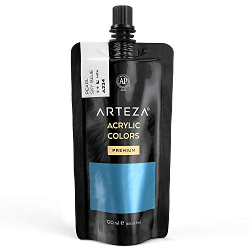 Arteza Metallic Acrylic Paint, Pearl Sky Blue A224, 120 ml Pouch, Highly Pigmented & Fade-Resistant, Non-Toxic, for Artists, Hobby Painters & Kids