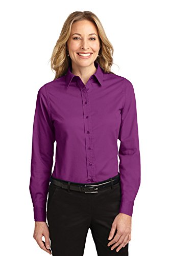 Port Authority Ladies Long Sleeve Easy Care Shirt-Deep (Berry Buttons)