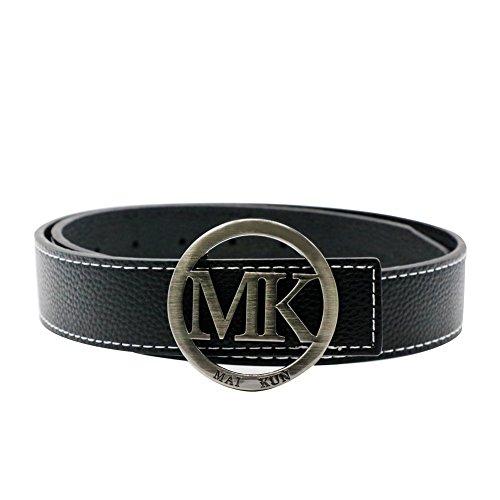"""Maikun Belts for Men Women MK Letter Black Buckle 38mm Black Leather Adjustable Belt 105cm for Waist Size 30-32"""""""