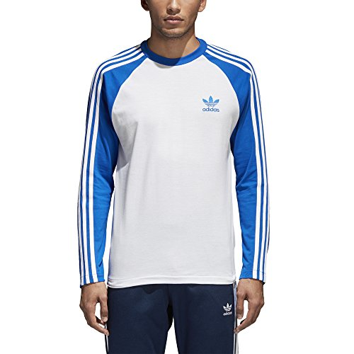 Blue Stripe T-shirt (adidas Originals Men's 3-Stripes Long Sleeve Tee Blue Medium)