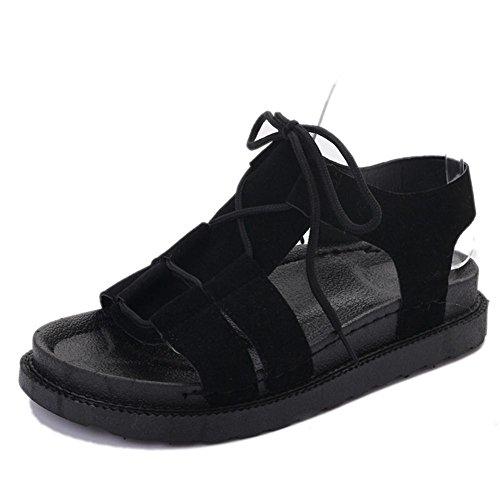 Zapatos De Encaje Abiertas Sandalias Plana Estudiante Casuales Black Las Mujeres w8ZR7