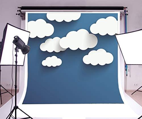 (Leowefowa 5X5FT Vinyl Photography Backdrop Cartoon White Cloud Abstract Blue Wallpaper Background Sweet Baby Kids Children Lover Photo Studio Props)