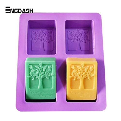 1 piece ENGDASH Rectangle Silicone Mold Tree Shaped 4 Hole Square Soap Mold Arts and Crafts Chocolate Cake Molding Hand Making Tools ()