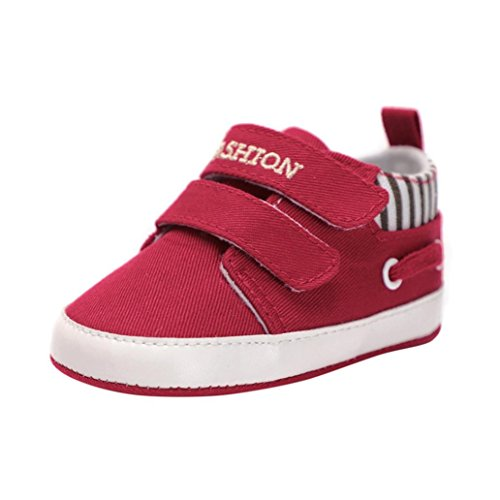 Moonker Baby Shoes,Toddler Baby Girls Boys Solid Soft Sole Anti-Slip Sneakers Canvas Crib Shoes For 0-18M (0-6 Month, Red)