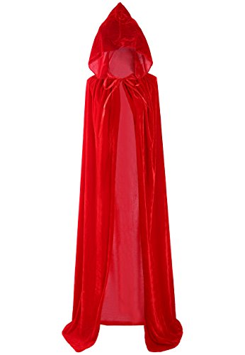 Unisex Halloween Cloak Hoodie Velvet Vampire Witch Devil Cape Cosplay Costume Red 66