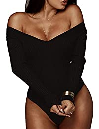 Women Jumpsuits Deep V Neck Long Sleeve Bodysuit Stretchy...