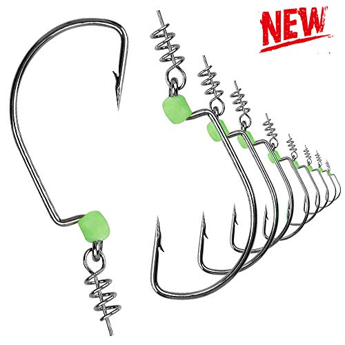 Erchang Fishing Hooks,Bass Fishing Tackle High Carbon Steel Senko Worms Assortment Bait Jig Cover Hooks with Plastic Box for Saltwater -