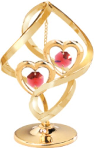 MASCOTUSA 24k Gold Plated Heart in Spiral Free Standing with Red Swarovski Crystal Element