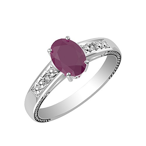 0.80ctw, Genuine Ruby Oval & Solid .925 Sterling Silver Solitaire Ring Size-5