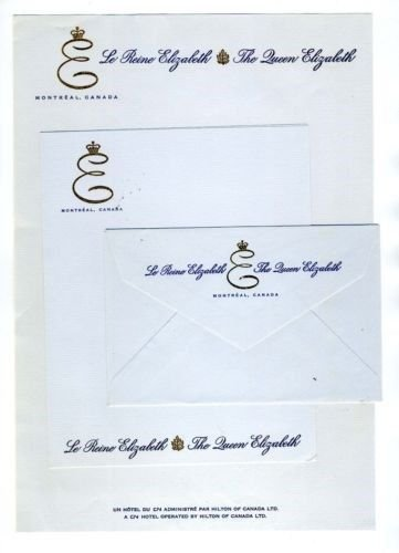 Le Reine Elizabeth Hotel Stationery Queen Montreal - Hotel Stationery